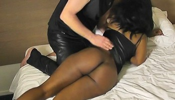 Ebony spanked and roughed