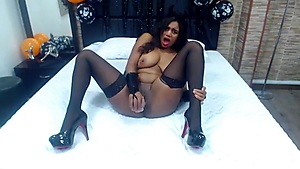Halloween Livecam Show with busty ebony